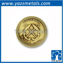 customize commemorate coins, custom anchor coin with gold plating